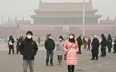 (TEIA - ) Tags: china people outdoors smog day beijing coal monuments groups airpollution localpopulation climatecampaigntitle masksprotective asianethnicities kwcigpi