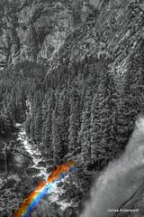 Misty view in colorized grey (JA Photography - Be There, Out There) Tags: california blackandwhite usa waterfall rainbow yosemitenationalpark vernalfalls jamesanderson japhotography
