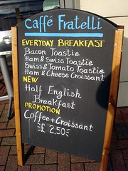 Sign at Caff Fratelli, Royal Victoria Dock, London E16 (Kake .) Tags: london docklands e16 royaldocks