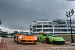 Double Italians (BLACKFOXPHOTOGRAPHY) Tags: orange sexy verde green cars speed amazing italian singapore asia fierce extreme fast bull racing bulls double trouble exotic stunning ithaca lamborghini supercar v8 sv v10 gallardo supercars combo fastcars superleggera blackfoxphotography exoticars aventador alexpenfold effspot v12khan sathyamelvani