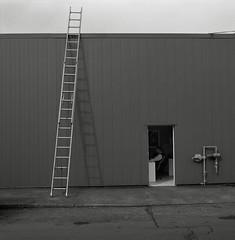 Ladder, Portland (austin granger) Tags: film work square portland office escape geometry aspiration surreal ladder meter gf670 austingranger