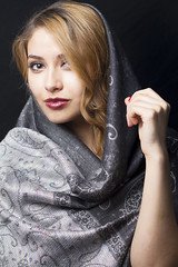 Sarah (austinspace) Tags: portrait woman leather scarf studio washington model spokane jacket blond singer blonde scarves alienbees