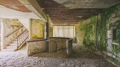 Golden and Green Shades (klickertrigger) Tags: abandoned window architecture stairs photography moss decay indoor ceiling staircase urbanexploration dust moos verlassen urbex staub verfall 2015 lostplace stefandietze