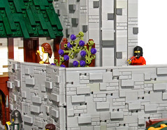 An Assassin on the Loose! (aardwolf_83) Tags: street door city musician music lighthouse house building tower water statue wall port harbor boat fishing dock alley rocks ship lego cottage shack tripp build causeway oro moc isil abner lenfald yursuff