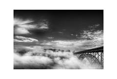Fog Under Bridge (shutterclick3x) Tags: bridge blackandwhite bw fog landscape backroads frankloose