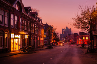 Amazing sunset colours in Haarlem Centrum - NETHERLANDS