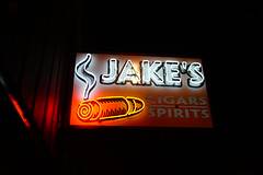 Jake's Cigars At Night (Twang Your Head) Tags: neon sign signage geek