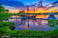 Harbourside Place Sunset with Columbus Ship (Captain Kimo) Tags: captainkimo columbusship florida hdrphotography harboursideplace jupiter nina pinta sunset waterway