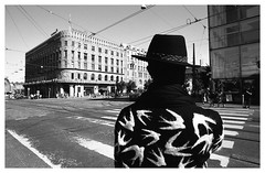Scene with birds (danieltim.net) Tags: streetphotography details citylife streetfashion blackandwhite helsinki europe film ilford panfplus ddx backportrait