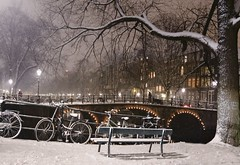 Winter seat in fairy tale Amsterdam (B℮n) Tags: amsterdam pastoorsbrug brouwersgracht keizersgracht snow covered bikes bycicles holland netherlands canals winter cold wester church jordaan street anne frank house dutch people scooter gezellig cafés snowy snowfall atmosphere colorful windows walk walking bike cozy boat light rembrandt corner water canal weather cool sunset celcius mokum pakhuis grachtengordel unesco world heritage sled sleding slee bycicle 1°c sun shadows sneeuw brug slippery glad night flakes evening handheld seat bankje fairytale mist 50faves topf50 100faves topf100