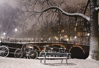 Winter seat in fairy tale Amsterdam