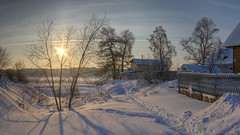 easy morning (Sergey S Ponomarev - very busy) Tags: sergeyponomarev canon eos nature natura village country winter inverno neve january gennaio 2017 cold frost morning dawn sunrise hdr russia russie russland north nord kirov uspenskoye viatka vyatka wjatka landscape paysage paesaggio silhouettes house path texture сергейпономарев деревня пейзаж зима снег январь мороз утро рассвет киров вятка россия север hff happyfencefriday