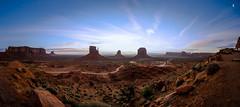 Monument Valley, Utah (Darcey Prout) Tags: panoramic monumentvalley utah west americanwest us usa nikon 1424 wide sun sunrise d800 sky blue ut desert wildwest morning