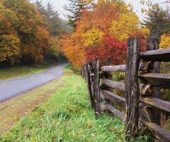Blue Ridge Dreamin' (Wes Iversen) Tags: blueridgeparkway fencefriday hff nikkor18300mm northcarolina autumn autumncolor fence fences fog foggy highways painterly roads vacations