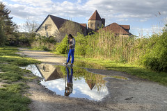 Puddle to Ponder (milfodd) Tags: park reflection puddle christy may longisland boathouse suffolkcounty 2013 singlerawhdr coindrehall huntingtonhabor