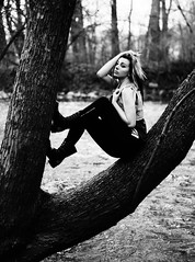 Maggie. <3 (chou-fleur photos) Tags: trees light summer portrait blackandwhite bw black nature water girl beautiful beauty fashion contrast forest photoshop river intense model nikon soft dynamic natural exploring curves naturallight romantic dreamy adventures simple greyscale edgy d80 nikond80