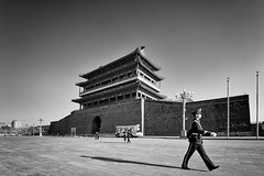 gate tower (abtabt) Tags: relic building structure gatetower armedpolice d700sigma1224 beijing pedestrians shadow