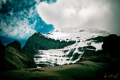 Holy Kailas (Raimond Klavins | Artmif.lv) Tags: travel wild sky india mountain snow cold ice nature stone clouds trekking trek landscape outdoor altitude tibet adventure valley temperature powerful yatra kora himalayas pilgrim icefall   uncultivated  kailsh   artmif