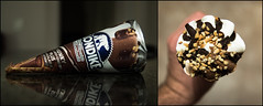 358/365: What Would You Do? (CGA[AvoidingResourcefulGooglers]) Tags: reflection ice diptych counter cone chocolate cream peanuts vanilla product klondike
