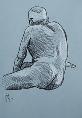 Erol 07/08/2013 (Rupe) Tags: male london pencil nude sketch study n4 lifedrawing wednesdays stroudgreen theolddairy drawingfromlife lifedrawn4
