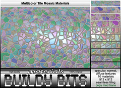 ~Buildy Bits~ Multicolor Tile Mosaic box (Raining Mirror - Buildy Bits) Tags: tile mosaic sl secondlife normal specular bits materials diffuse buildy fullperm