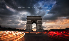 Arco Triunfo (FredConcha) Tags: city sunset pordosol paris france clouds lights fast arcotriunfo fredconcha