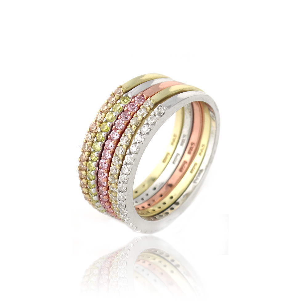Half Eternity Band Bands: 925 Silver Multi-Colored CZ Stackable Half-Eternity Band