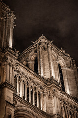 The Notre Dame bell towers (RecipeTaster) Tags: paris tower church sepia night contrast bell gothic notredame toned