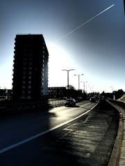 High Rise Living, St James Street, Doncaster. (Man of Yorkshire) Tags: uk autumn shadow england sky sun concrete apartments clevelandstreet yorkshire jet flats highrise 1960s doncaster southyorkshire dualcarraigeway arterial stjamesstreet westriding