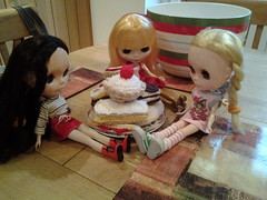 The girls have a tea party..
