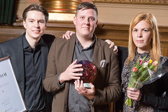 Markus Rautiainen, Per-Ola Mjömark och Elisabeth Nilsson från Stiftelsen för Internetinfrastruktur, vinnare av Web Service Award 2013 i klassen Samhällskommunikation.