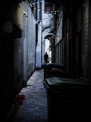 Alleyway Alien (Feldore) Tags: old ireland man silhouette alley sinister alien olympus belfast alleyway mysterious northern cinematic et narrow mchugh shadowy em1 feldore