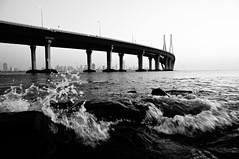 B04-01 Sea Link (With Dishna) - 07 (Rajesh_India) Tags: bridge sunset sea bw india dusk sony pride bombay link maharashtra mumbai at