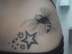 bee stars tattoo design (tattoos_addict) Tags: tattoo stars design bee startattoo