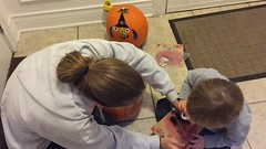 "Mommy and Paul Decorate Pumpkins • <a style=""font-size:0.8em;"" href=""http://www.flickr.com/photos/109120354@N07/32298280093/"" target=""_blank"">View on Flickr</a>"