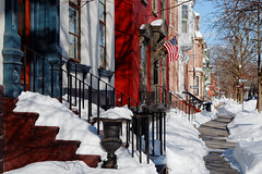 Snowy Steps, Cleared Sidewalk (fotofish64) Tags: stockade stockadehistoricdistrict snow historicdistrict history americanhistory schenectady downtownschenectady schenectadycounty urban downtown white winter color red blue americanflag outdoor capitaldistrict building architecture victorianarchitecture pentax pentaxart pentaxda1855mmwrlens ks2 kmount ornate