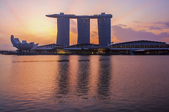 Singapore landmark city skyline at the Marina bay during sunrise