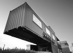 Coffee Box (t55z) Tags: elpaso texas shippingcontainer blackwhite coffeeshop