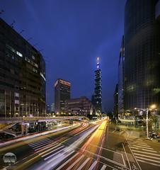 Rush Hour   Taipei (kenneth chin) Tags: cityscape lighttrail verticalpanorama digitalblending blue attraction taipei101 nikon d810 nikkor 1424f28g yahoo google taiwan taipei city