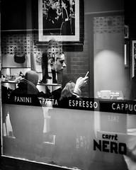 York Street (Paul Evans.) Tags: street york mono black white people shop coffee girl phone text reflection