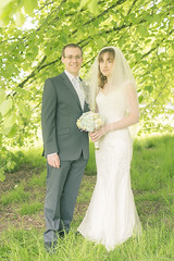 20130519_F0004: Kirsty and Daniel's wedding - The wedded couple (wfxue) Tags: flowers wedding tree green love groom bride leaf dress heart formal event bouquet leafs
