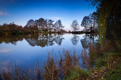 Autumn Lake 2012 (MiqsPix ) Tags: park blue autumn trees sky lake water canon reflections angle beds wide bedfordshire nd grad tamron 2012 60d