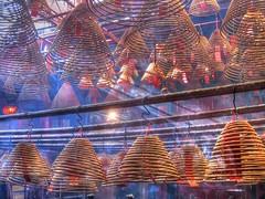 Man Mo Temple, Sheung Wan (World Traveller Photography) Tags: light mist temple hongkong haze worship asia smoke burning sunbeam incense hongkongisland manmo sheungwan