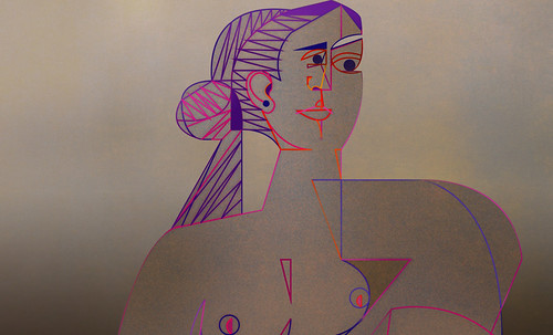 "Mujer Sentada, geometrización de Pablo Picasso (1953), abstracción de Roberto Real de León (2013). • <a style=""font-size:0.8em;"" href=""http://www.flickr.com/photos/30735181@N00/8815930598/"" target=""_blank"">View on Flickr</a>"