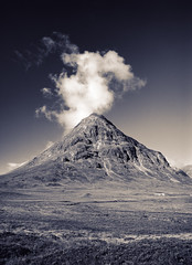 Buachaille Etive Beag (JB Morlot) Tags: uk travel sky blackandwhite mountain mamiya film tourism sepia clouds mediumformat landscape hope design scotland countryside highlands solitude alone loneliness faith fineart country religion hunting decoration atmosphere calm believe zen serenity glencoe moors meditation wilderness relaxation moor 6x45 mystic etive scottishlandscape 654e
