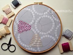 Garden Path Sampler - WIP (juliezryan) Tags: sampler embroidery stitches tutorial sheafstitch junesampleralong