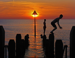 The Moment... (John Ibbotson (catching up!)) Tags: sunset sea sun wales coast jetty cymru aberystwyth ceredigion