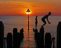 The Moment... (John Ibbotson (catching up!)) Tags: sunset sea sun wales coast jetty cymru aberystwyth ceredigion