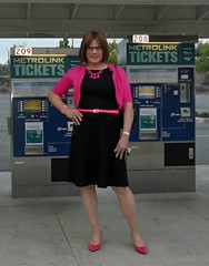 Train Station (krislagreen) Tags: pink black belt tv sweater pumps highheels dress cd hose tgirl transgender purse transvestite heels crossdresser crossdress tg cardi patent