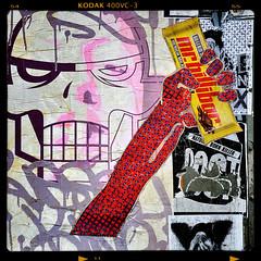 Mr Billibar for the 4th of July! (BilliKid) Tags: nyc streetart graffiti stencil chocolate mixedmedia soho independenceday newsprint crosbystreet mattsiren billikid aerosolspray mrbillibar